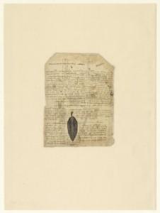 Leonardo da Vinci (1452-1519), Codice Atlantico (Codex Atlanticus), foglio 197 verso. Ricetta per stampare in positivo; in basso, foglia di salvia stampata in negativo.