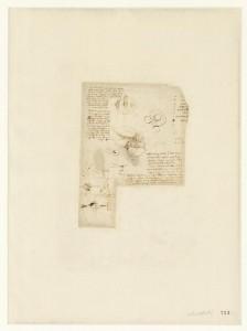 Leonardo da Vinci (1452-1519), Codice Atlantico (Codex Atlanticus), foglio 713 recto. Al centro, foglie e frutti; in alto a destra, otto nomi di persona; a sinistra, studio degli effetti della percussione dei corpi elastici e non elastici; a destra, nota sulla sfericità dell'acqua (intesa come elemento); in basso, piano inclinato e modello di giunto a tenaglia.